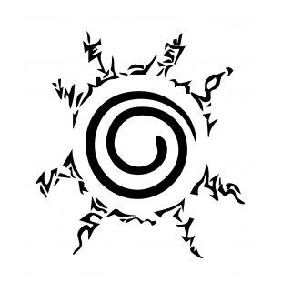 Тениска Наруто - бяла с черен печат на Наруто - Версия 2