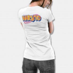 Тениска Наруто - бяла с логото на сериала Naruto