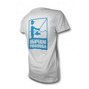 Смешна тениска за рибари - Обичам риболова - Черна