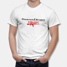 Тениска CS Counter Strike БЯЛА - с оръжие и персонален ник