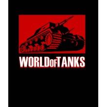 Тениска World of Tanks ЧЕРНА - с червен танк и надпис WOT