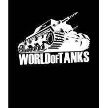 Черна Тениска World of Tanks - с бял танк и надпис