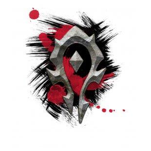 Тениска WOW - World of WarCraft - Бяла, с лого The Horde с фрески