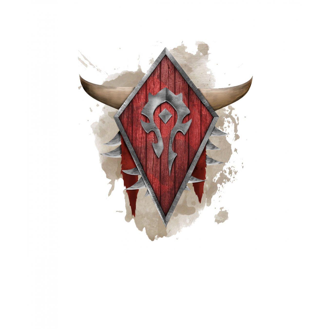 a610d4608cb Тениска WOW - World of WarCraft - Бяла, с рисувани лого на Хордата върху щит
