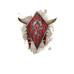 Тениска WOW - World of WarCraft - Бяла, с рисувани лого на Хордата вър...