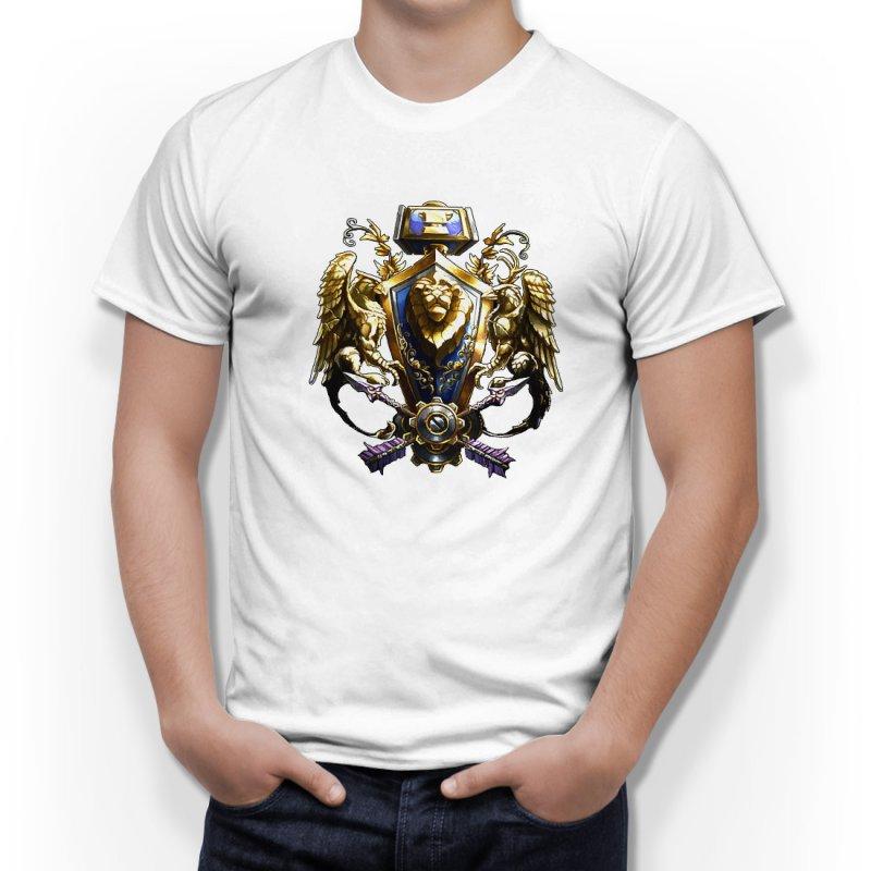 Тениска WOW - World of WarCraft Бяла - с логото The Aliance в Тематични тениски | в Tee.bg