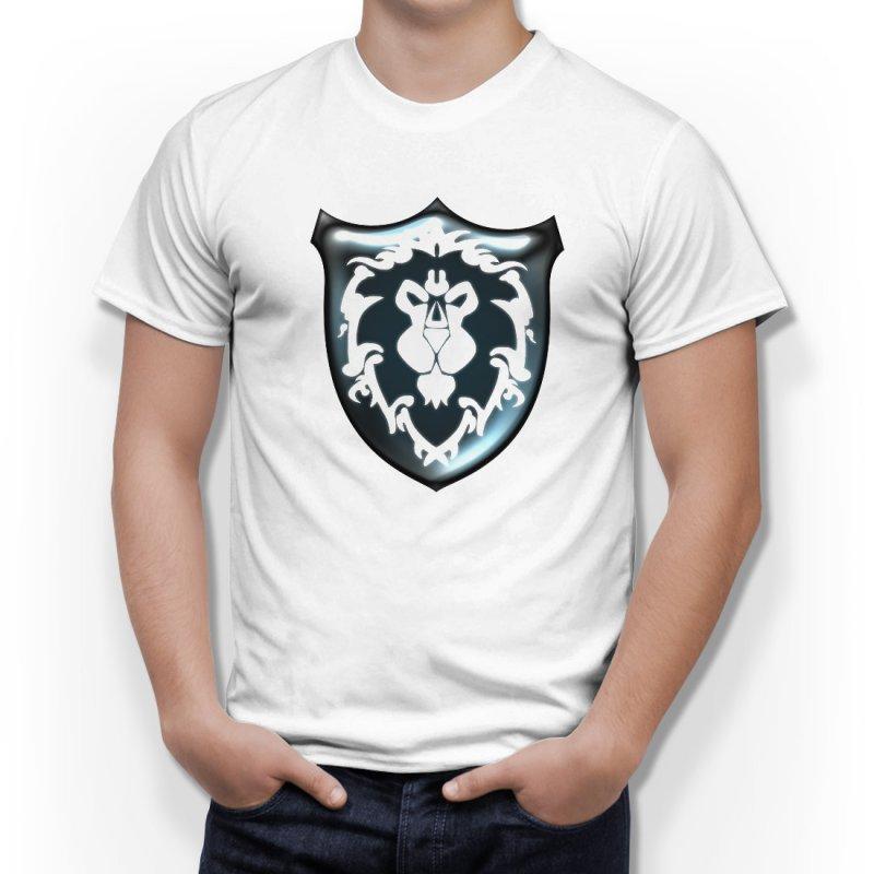 Тениска WOW - World of WarCraft Бяла - с щампа на Алиански Щит в Тематични тениски | в Tee.bg