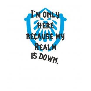 Тениска WOW - World of WarCraft Бяла - със забавен надпис и синьо лого...