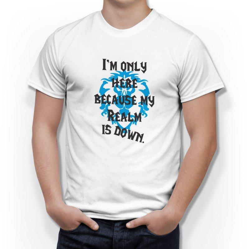 Тениска WOW - World of WarCraft Бяла - със забавен надпис с флага на Алианса в Тематични тениски | в Tee.bg