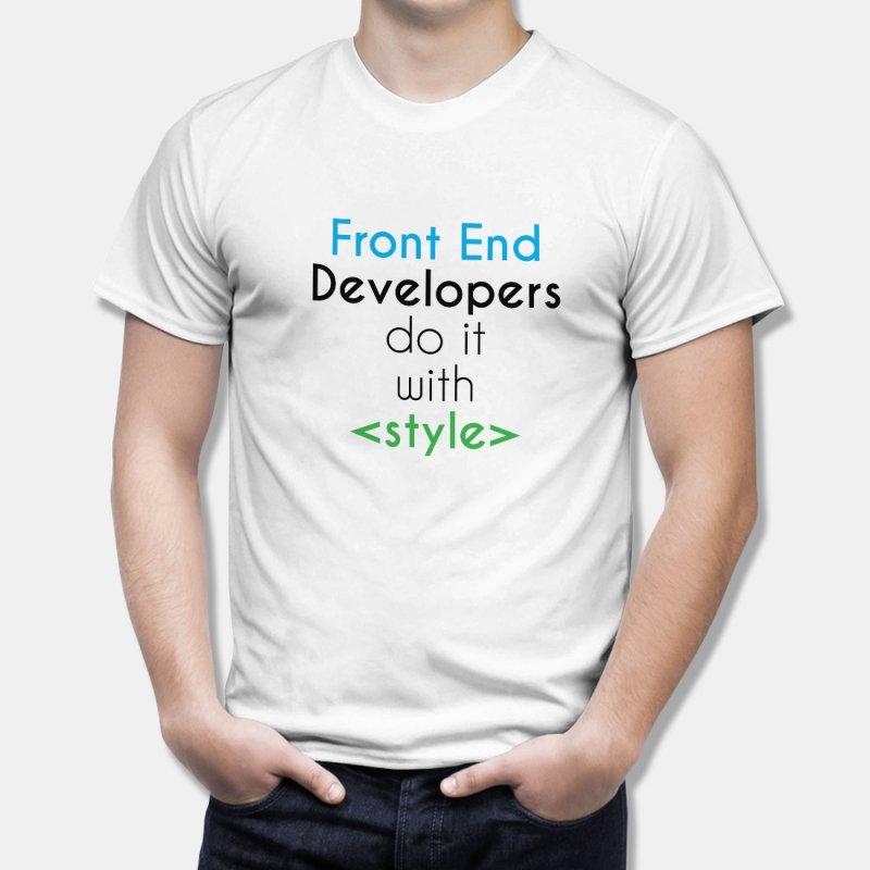 Тениска за Дизайнери Front End Developers do it with Stile - бяла в Дамски тениски | в Tee.bg