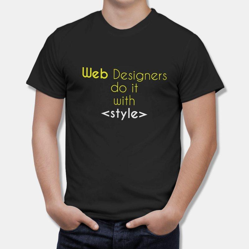 Тениска за Дизайнери Web designers do it with Stile - черна в Дамски тениски | в Tee.bg
