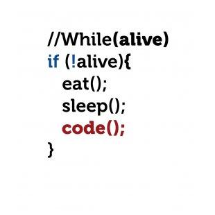 Тениска за програмисти с Код While alive - Code за мъже, бяла
