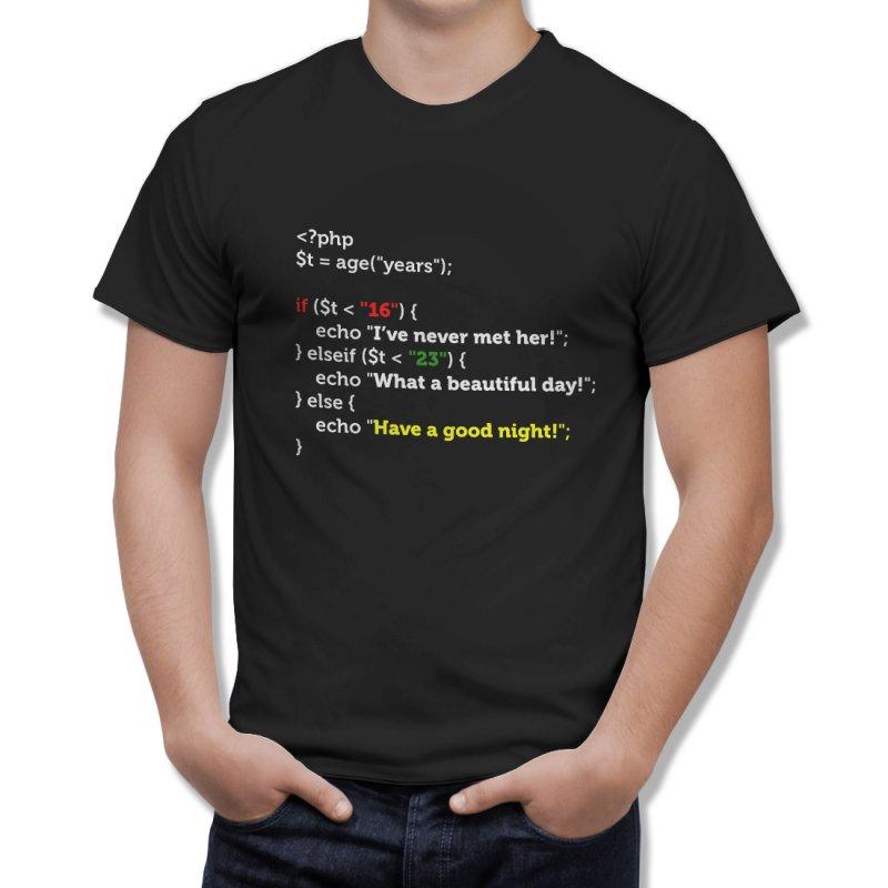 """Тениска за програмисти с Код """"Have a Good Night"""" - черна в Мъжки тениски   в Tee.bg"""