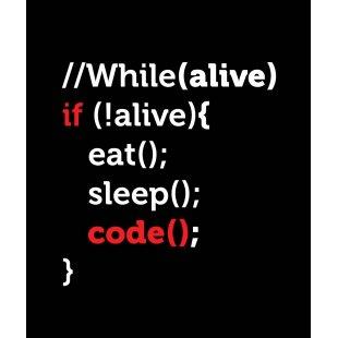 Тениска за програмисти с Код While alive - Code черна