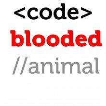 Тениска за програмисти с надпис CODE BLOODED ANIMAL