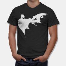 Тениска Батман - dark batman тениска с бял принт - Черна