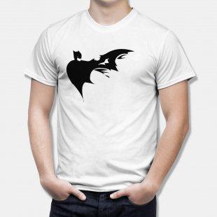Тениска Батман - бяла тениска с черна щампа dark batman