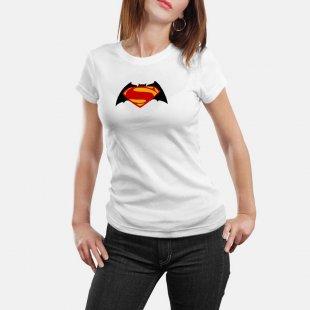 Тениска Супермен - цветно слято лого на Батман и Супермен, бяла в Мъжки тениски | в Tee.bg