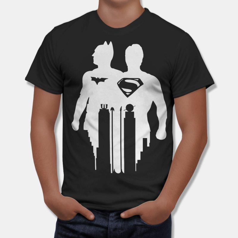 Тениска Батман и Супермен - колосите, Черна в Мъжки тениски | в Tee.bg