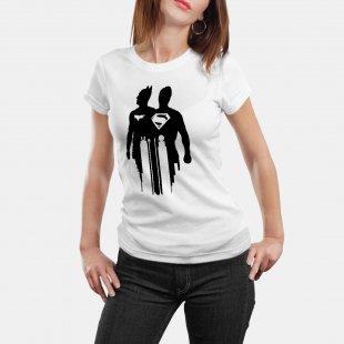 Тениска Батман и Супермен - колосите, Бяла в Мъжки тениски | в Tee.bg