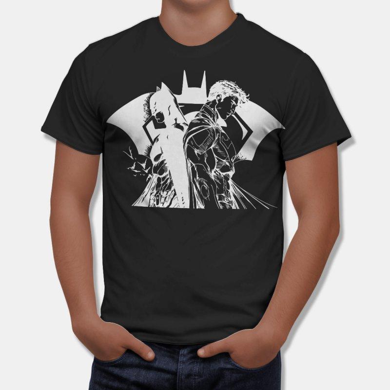 Тениска Батман и Супермен - комикс стил, Черна в Мъжки тениски | в Tee.bg