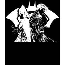 Тениска Батман и Супермен - комикс стил, Черна