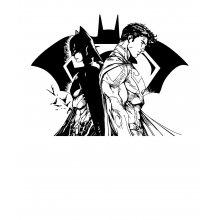 Тениска Батман и Супермен - комикс стил, Бяла