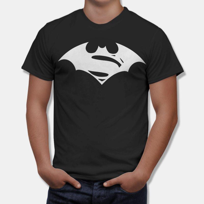 Тениска Батман - слято лого на Батман и Супермен в Мъжки тениски | в Tee.bg