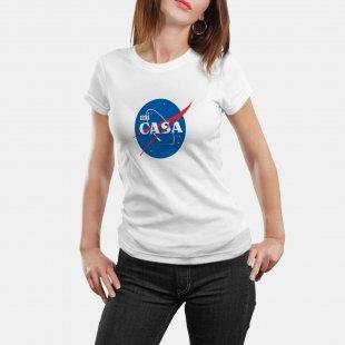 Тениска с щампа MI CASA като оригиналното NASA лого - бяла